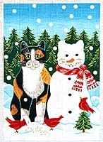 Snow Cat (hand-painted canvases) by Elizabeth Brownd