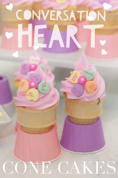 Our pink & purple cone cake bases are perfect with these adorable Valentine's Day cone cakes! What are cone cakes? Cupcakes baked inside ice cream cones!  Some call them ice cream cone cupcakes.  Our cone cake bases keep them from falling over while baking! Great for kids and adults!