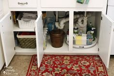 Use a Lazy Susan under your sink to store and find your products easier.