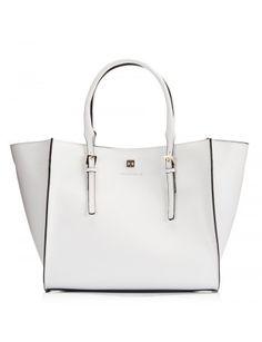 White Saffiano Leather Wide Open Wing Mini Tote Bag Tašky