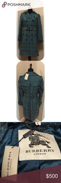 """Authentic Burberry Plaid Trench Coat Authentic - Teal and ivory Burberry double-breasted coat with pointed collar, dual pockets, geometric pattern throughout and button closures at front. Designer size U.K. 12.  Waist: 33"""" Length: 39"""" Sleeve: 31"""" Shoulder: 16.5"""" Bust: 39""""  Fabric: 62% Cotton, 27% Viscose, 9% Acrylic, 2% Polyester; Lining 1005 Cupro Designer: Burberry Burberry Jackets & Coats Trench Coats"""