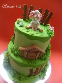 Cute...-Sonata Sheep Cake, Fondant Animals, Torte Cake, Animal Cakes, Cute Cakes, Themed Cakes, Cake Decorating, Decorating Ideas, Easter Bunny