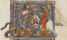 Gawain lucha contra Yvain, de Yvain, el Caballero del León de Chrétien de Troyes.