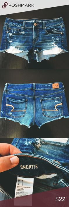 """American Eagle Jean Shorts Size 8 Excellent used condition jean shorts from American Eagle. They have stretch and are the """"shortie"""" type. Smoke-free home :) Not sure why the back picture looks so vibrant, is more like the first picture in person. American Eagle Outfitters Shorts Jean Shorts"""