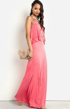 Ruffled Bodice Maxi Dress