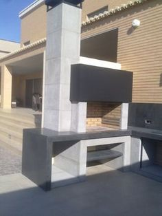 See related links to what you are looking for. Diy Outdoor Kitchen, Outdoor Cooking, Outdoor Rooms, Outdoor Living, Parrilla Exterior, Barbecue Design, Brick Bbq, Beton Design, Bbq Area