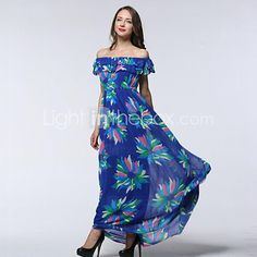 Women's Beach / Plus Size Boho Chiffon Dress,Print Asymmetrical Maxi Sleeveless Blue Spandex Summer - USD $23.99 ! HOT Product! A hot product at an incredible low price is now on sale! Come check it out along with other items like this. Get great discounts, earn Rewards and much more each time you shop with us!