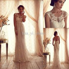 Wholesale Empire Wedding Dresses - Buy 2013 Vintage Lace Tulle Wedding Dress Sheer Crew Neckline Cap Sleeves Empire Backless Lace Appliqued Court Train Bridal Wedding Gowns Anna, $199.9 | DHgate
