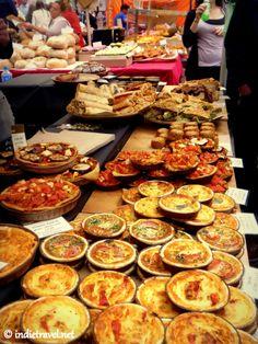 One of the yummy food stalls of Portobello Road Market, London.