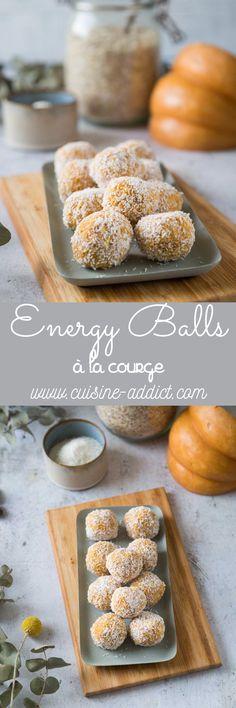 Energy balls à la Courge via @cuisineaddict Energy Balls, Slow Food, Pains, Hamburger, Yummy Food, Bread, Healthy, Fitness, Brot