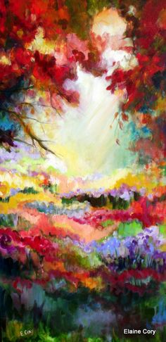 Serene Forrest Original Painting Trees 24 x 48 by ElainesHeartsong, $425.00