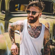 Levi Stocke - dark red beard mustache beards bearded man men mens' style tattoos tattooed auburn ginger redhead #beardsforever
