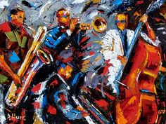 Jazz paintings, Cityscapes, Street scenes, abstract jazz art, jazz, music, john coltrane, miles davis, louis armstrong, charlie parker, billie holiday, stevie ray vaughan, jimi hendrix, jazz painting, jazz portraits. Buy Directly from Debra Hurd Fine Art.
