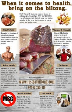I heart this stuff! So many health benefits from eating this dried cured meat. Biltong is the most popular snack in South Africa. Jerky Recipes, Meat Recipes, Recipies, 400 Calorie Meals, Emergency Food Supply, Healthy Snacks, Healthy Recipes, Biltong, Gym Food