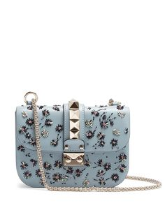 VALENTINO Lock small embellished leather shoulder bag - https://sorihe.com/womenshandbags/2018/02/12/valentino-lock-small-embellished-leather-shoulder-bag/