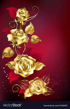 Buy Gold Roses on Red Background by on GraphicRiver. Gold entwined roses on red textural background. Gold Wallpaper, Colorful Wallpaper, Flower Wallpaper, Flower Backgrounds, Wallpaper Backgrounds, Door Flower Decoration, Motif Navajo, Image 3d, Plant Drawing