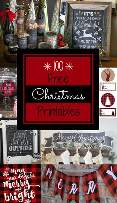 Save money on buying gift tags, Christmas decorations, and party supplies with these 100 FREE Christmas printables. Types of Christmas printables included in this post: Christmas Art Gift Tags and Gift Card Holders Chalkboard Printables Party Pack Printab Art Christmas Gifts, Christmas Signs, Rustic Christmas, Christmas Projects, All Things Christmas, Holiday Crafts, Holiday Fun, Christmas Holidays, Christmas Ornaments