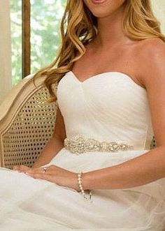 $45 Crystal bridal sash colors- white, off white or ivory. Pearl and crystal.