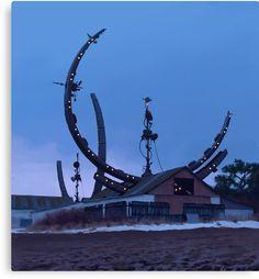Simon Stålenhag Art Gallery - a sci-fi vision of an alternate Sweden. Ralph Mcquarrie, Fantasy Landscape, Fantasy Art, Landscape Art, Illustrations Techniques, Art Illustrations, Fashion Illustrations, Inspiration Artistique, Sculpture Metal