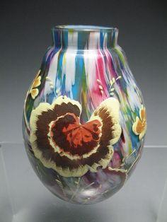 Incredible Bohemian Czech Harrach Enameled Flowers End of Day Art Glass Vase   eBay