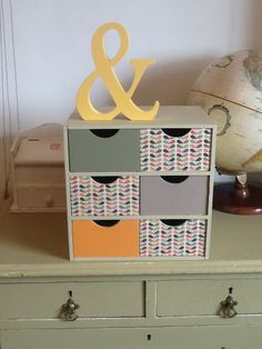 Upcycled Ikea box Orla Kieley paper Ikea Storage Boxes, Ikea Boxes, Craft Storage, Orla Keily, 1960s House, Decoupage Ideas, Room Ideas, Decor Ideas, Retro Furniture