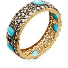 Jyoti New York Women's Silver, 7.90 Total Ct. Diamond & Turquoise... ($4,995) ❤ liked on Polyvore featuring jewelry, bracelets, no color, silver bracelet bangle, silver turquoise jewelry, hinged bracelet, diamond jewelry and silver bangles
