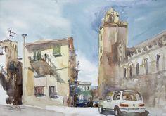 Cefalu, 36x51cm, 2009 www.minhdam.com #architecture #watercolor #watercolour #art #artist #painting #sicily #italy