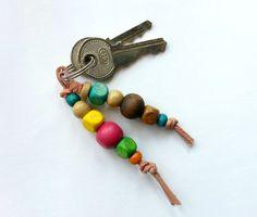 DIY Colorful Wooden Beaded Keyrings