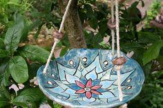 Vogeltränken - Keramik Vogeltränke, Hängeschale, blau - ein Designerstück von Sandlilien bei DaWanda