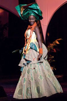 African inspired wedding gown with gele