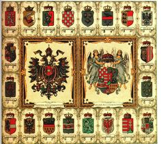 Empire of Austria-Hungary, shield of the medium coat of arms of the Austrian Countries, 1915-1918, Hugo Gerhard Ströhl. Description from pinterest.com. I searched for this on bing.com/images