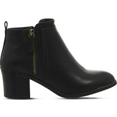 OFFICE Incarnation faux-leather ankle boots ($91) ❤ liked on Polyvore featuring shoes, boots, ankle booties, black, faux leather boots, vegan ankle boots, ankle boots, black bootie and round toe ankle boots