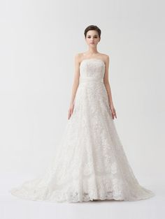 strapless lace wedding dress front