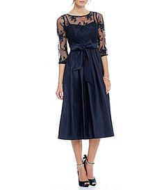 Jessica Howard Illusion Sweetheart Neck Inset Waist TieSash Pleated Skirt Dress #Dillards