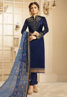 Satin Bleu, Blue Satin, Indian Dresses, Indian Outfits, Eid Dresses, Pakistani Outfits, Pakistani Gharara, Shadi Dresses, Party Dresses