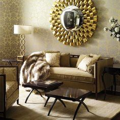 decorative mirror on living room wall