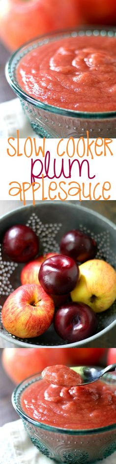 Naturally sweet healthy homemade slow cooker applesauce made pretty pink with the addition of plums.