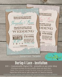 Burlap & Lace Invitation, Wedding, Shower, Rehearsal Dinner, DIY, Country, Turquoise, Charcoal, Mint Julep, Rose Custom Invitation on Etsy, $39.46 CAD