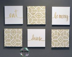 Eat Wall Art eat drink & be merry wine and cream wall art pack of 6 canvas wall