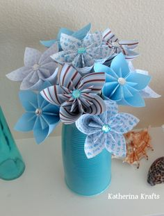 Origami Flowers - It's a Boy, Blue for Baby Boy or Baby Shower, Baby Boy Flowers. $42.00, via Etsy.