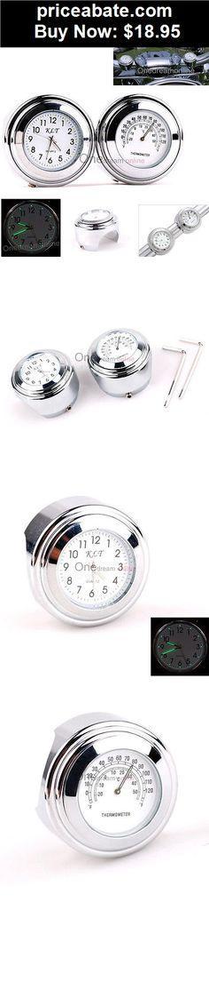 Leoie Motorcycle Handlebar Clock Thermometer Gauge for Piaggio Honda Suzuki Yamaha black