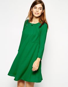 Image 1 of ASOS Woven Full Swing Dress with Seam Detail and Long Sleeves
