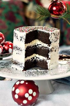 This vegan chocolate Christmas cake is so moist and delicious, you won't miss the eggs and dairy in the cake or in the frosting. Plus the red, green, and white sprinkles are a festive but understated touch for the holidays! Holiday Cakes, Holiday Baking, Christmas Desserts, Christmas Baking, Christmas Recipes, Christmas Decorations, Holiday Recipes, Vegan Dessert Recipes, Best Dessert Recipes