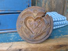 Antique Early Ornate Heart Butter Stamp.