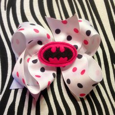 Pink Black and White Batman Boutique Hair Bow by MegansHairCandy, $5.50