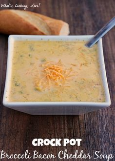 This Crock Pot Broccoli Bacon Cheddar Soup is an easy soup that adds the flavor of bacon to the traditional broccoli cheddar soup. Slow Cooker Recipes, Crockpot Recipes, Soup Recipes, Dinner Recipes, Cooking Recipes, Dinner Ideas, Recipies, Cheddar Soup Recipe, Bacon Soup