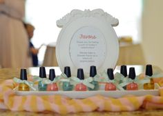 Flipping adorable!!! anyone who knows me ivdig the nail polishes! too cute! baby girl shower Gold, Coral, Mint #babyshower