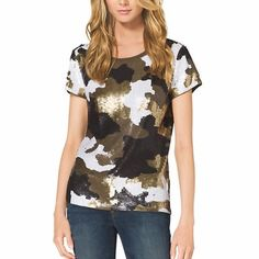 NWOT Michael kors camo sequin shirt Never worn! Only tried on! No size but has stretch fit small/medium. Retail $313   •no trades•no offsite transactions•no low balls•offers considered through the offer feature only!• Michael Kors Tops Tees - Short Sleeve