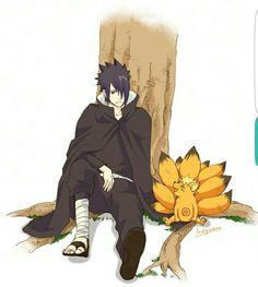 Sasuke, Naruto, cute, Nine Tails, Kyuubi, fox, Bijuu, Jinchuuriki; Naruto