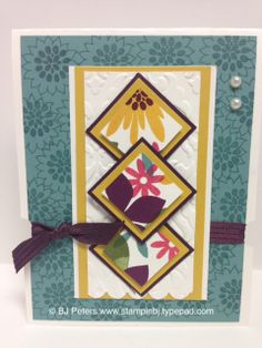 Lovin' the Flower Patch stamp set!  This gorgeous card is one of 6 in a gift set patterned after a class I did earlier this month.  Check out the whole set on my blog;  http://stampinbj.typepad.com/weblog/2014/06/check-out-the-flower-patch-card-set.html